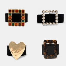 Girlgo New Design ZA Maxi Heart Belts For Women Bohemia Square Colorful Crystal Statement Belts Christmas Gift Wedding Jewelry(China)