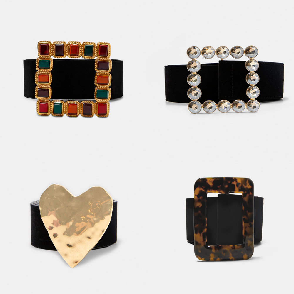 Girlgo New Design ZA Maxi Heart   Belts   For Women Bohemia Square Colorful Crystal Statement   Belts   Christmas Gift Wedding Jewelry