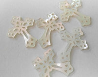 10pcs 18 40mm genuine mother of pearl shell jewelry Mop shell Cross Filigree Pendants White Shell Cross Beads