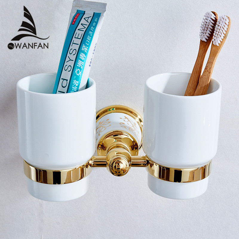 Cup & Tumbler Holders European Style Luxury Gold Toothbrush Holder Tumbler Holder Double Cup Holder Wall Bathroom Fitting 87304 luxury golden brass three cup holder luxury style golden copper toothbrush double tumbler 3pcs cup holder wall bath cup rack
