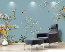 beibehang Customized modern minimalist hand-painted flowers and birds new Chinese background wall papers home decor wallpaper