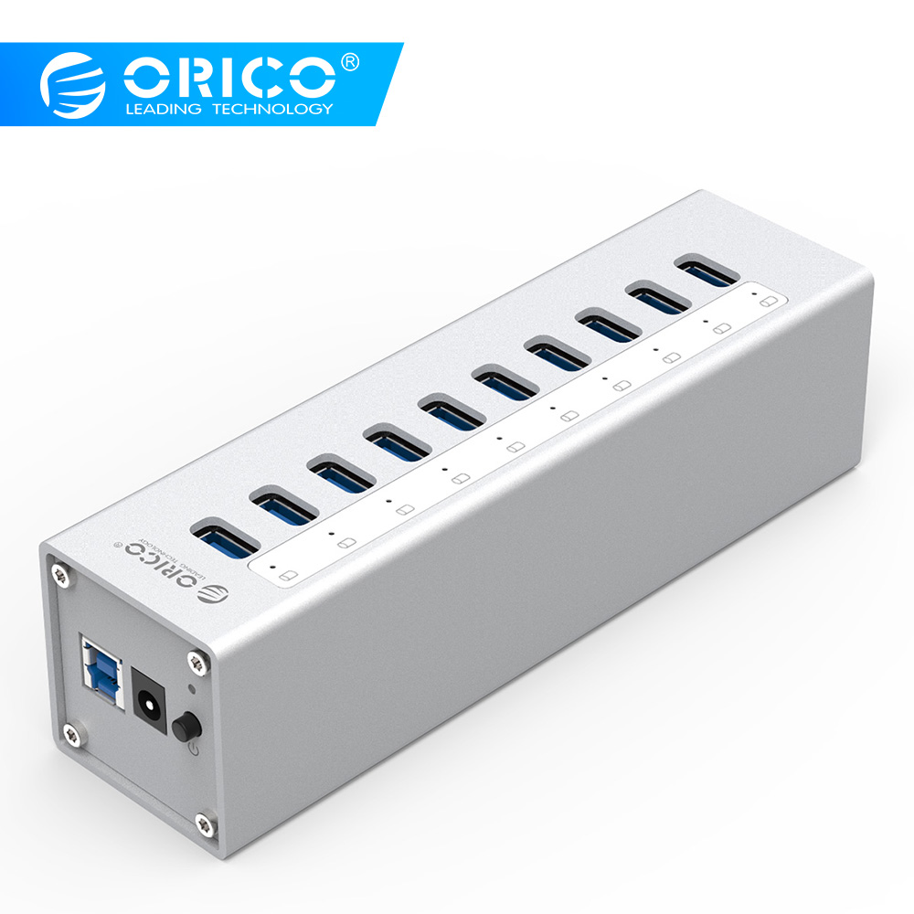 ORICO A3H10 USB 3.0 HUB  High Quality With Power Adapter Aluminum 10 Port USB 3.0 HUB - SilverORICO A3H10 USB 3.0 HUB  High Quality With Power Adapter Aluminum 10 Port USB 3.0 HUB - Silver