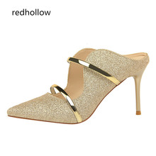 Summer Women Sandals Super High Heels Female Fashion bling Wedding Shoes Sandalia Feminina Sexy Pointed toe Pumps