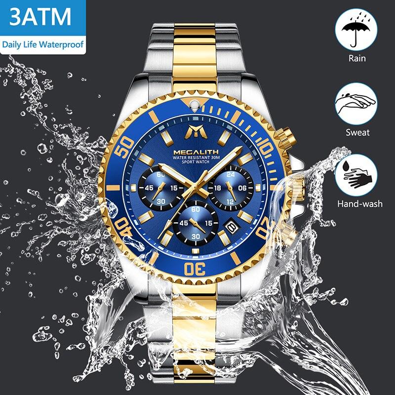 MEGALITH Luxury Mens Watches Sports Chronograph Waterproof Analog 24 Hour Date Quartz Watch Men Full Steel Wrist Watches Clock 3