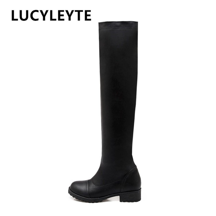 2017 women thigh high boots over the knee motorcycle boots winter and autumn woman shoes plus size 4.5-10.5women's boots lcx 2017 new fashion sweet lady shoes high thigh knee autumn winter over the knee casual women boots plus size boots for women