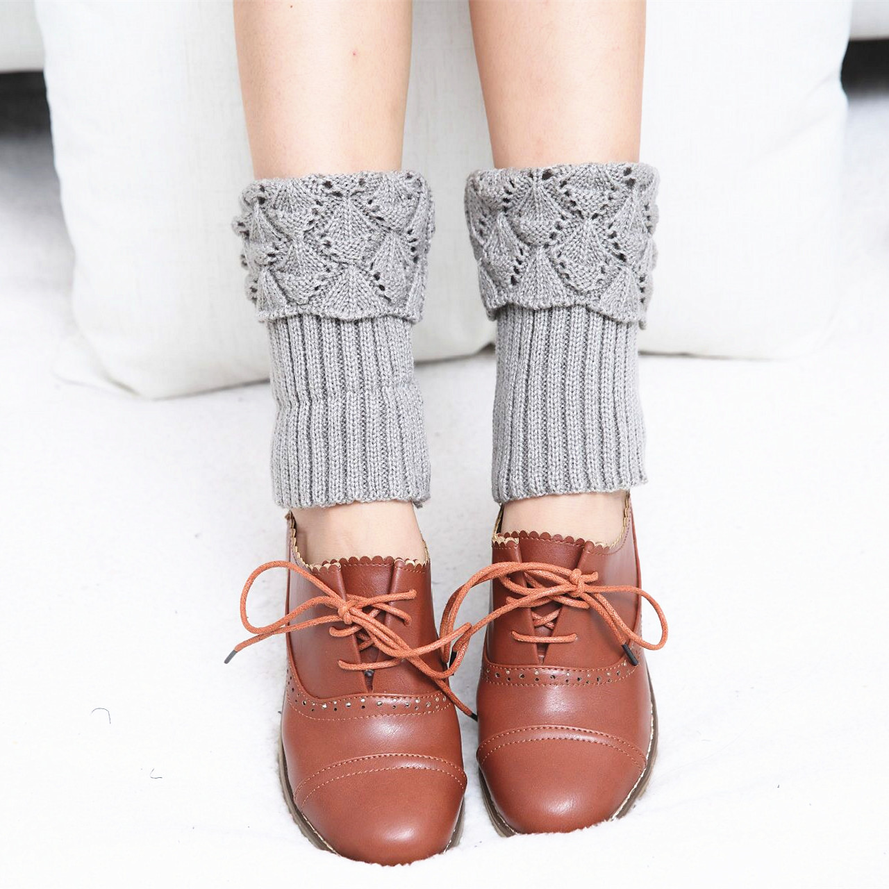 Fashion New Wool Knit Short Cut Sailboat Scallop Socks Korean Version Of Autumn And Winter Ladies Boots Set Foot Cover Leggings