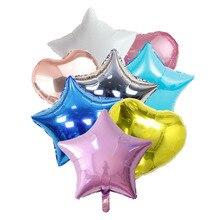 6 pçs dia dos namorados globos casamento 18 polegada balões da folha do coração estrela decorações da festa de aniversário crianças balão de hélio fontes de festa
