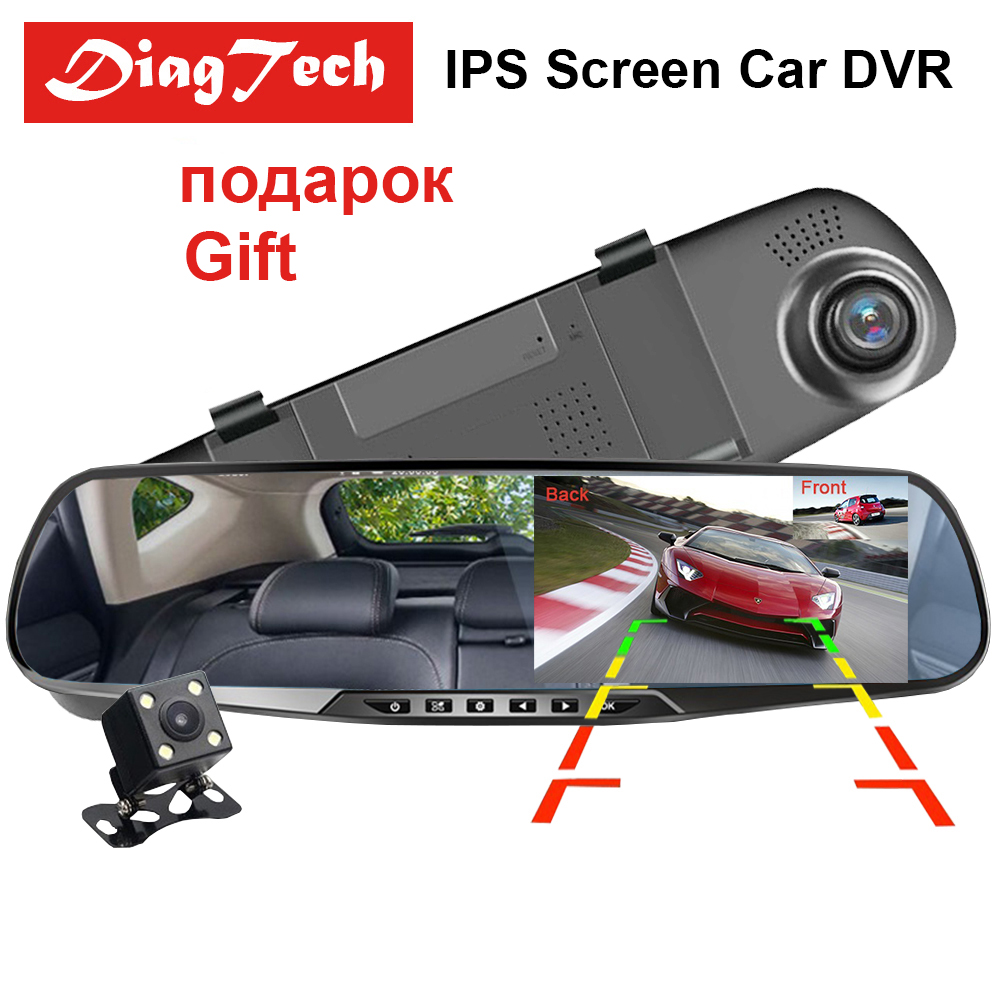 DiagTech 4.3 inch Car Dvr Camera HD 1080P Rear View Mirror Dual Lens