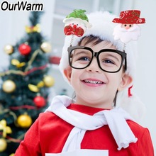 OurWarm Christmas Glasses Frame Santa Claus Elk Snowman Eyeglass Decoration New Year Gift for Kids Adult Party Toy