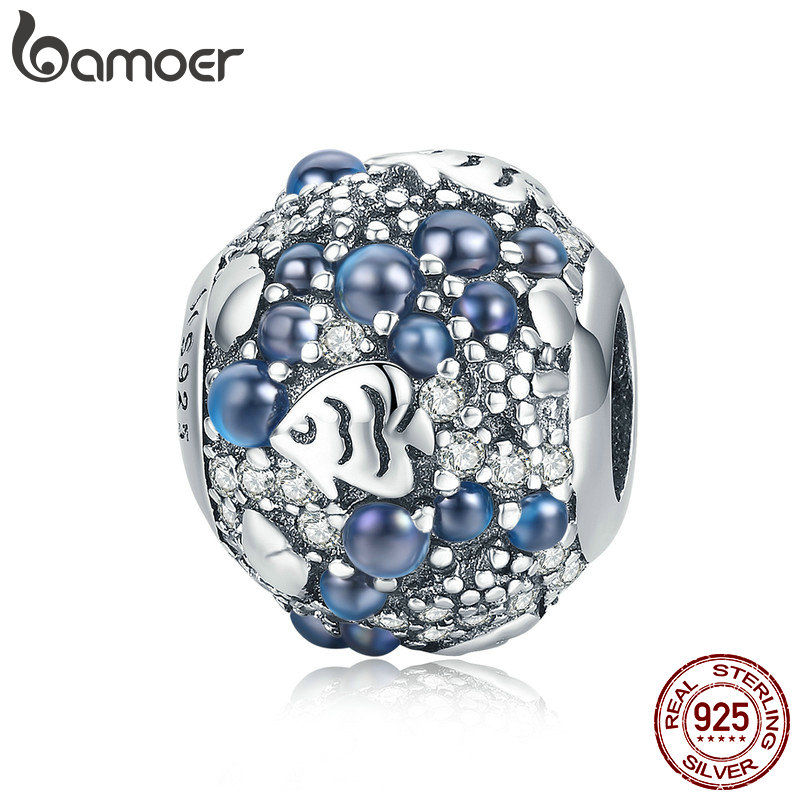BAMOER Genuine 925 Sterling Silver Underwater World Fish Ocean Beads Cubic Zircon Charms fit for Beads Bracelet Jewelry SCC932