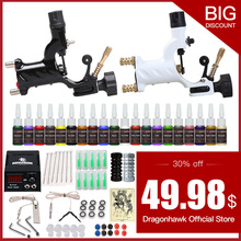 hot deal buy beginner tattoo starter kits 2 guns machines 20 ink sets power supply needle pedal tips d175gd-6
