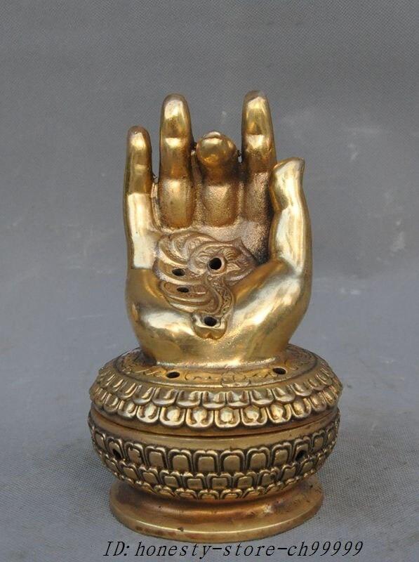 Chinese Buddhism bronze pure brass Censer incense burner statue