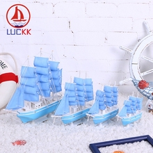 LUCKK 33 24 20 16CM DIY Wooden Model Ships Light Blue Home Decoration Room Wood For Crafts Toys Sailing Kids Gift Souvenir