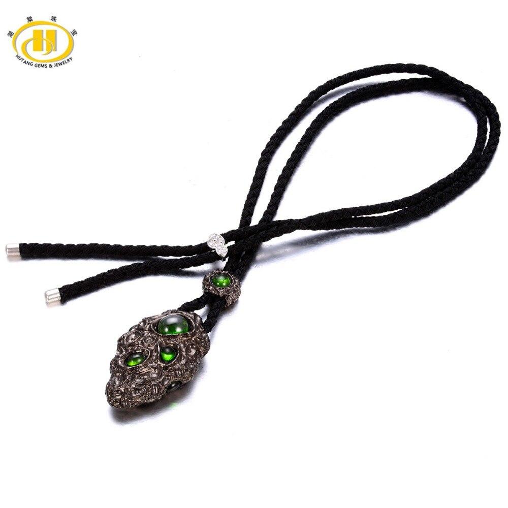 Chrome naturel Diopside 925 pendentif en argent Sterling ficelle corde collier bijoux pour hommes cadeau de la fête des pères