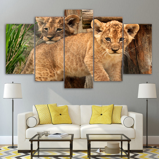 Modular Canvas Poster Frame Wall Art 5 Pieces Couple Baby Lions Animal  Pictures HD Prints Living Part 94