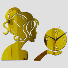 modern 3D mirror acrylic wall clock quartz movement of women