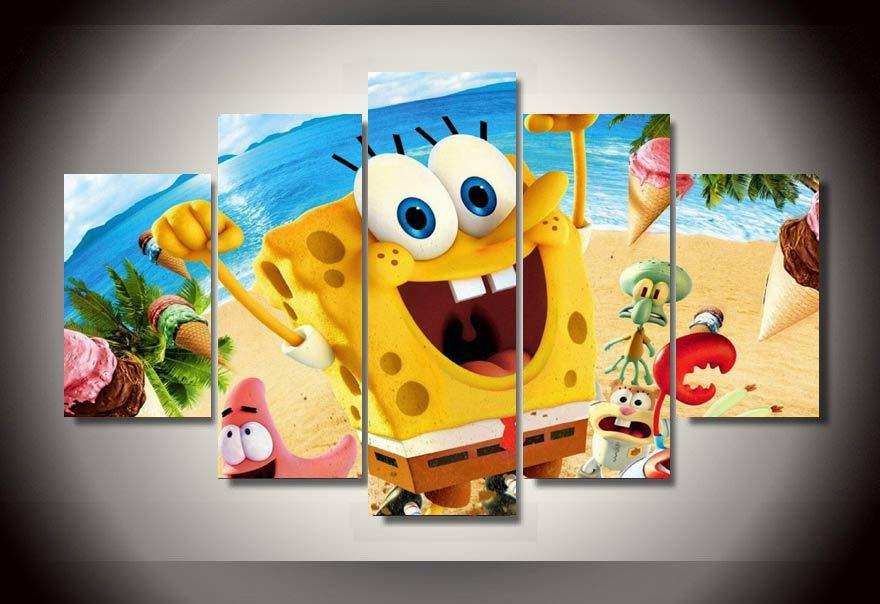 HD Printed Cartoon spongebob movie Painting on canvas room ...