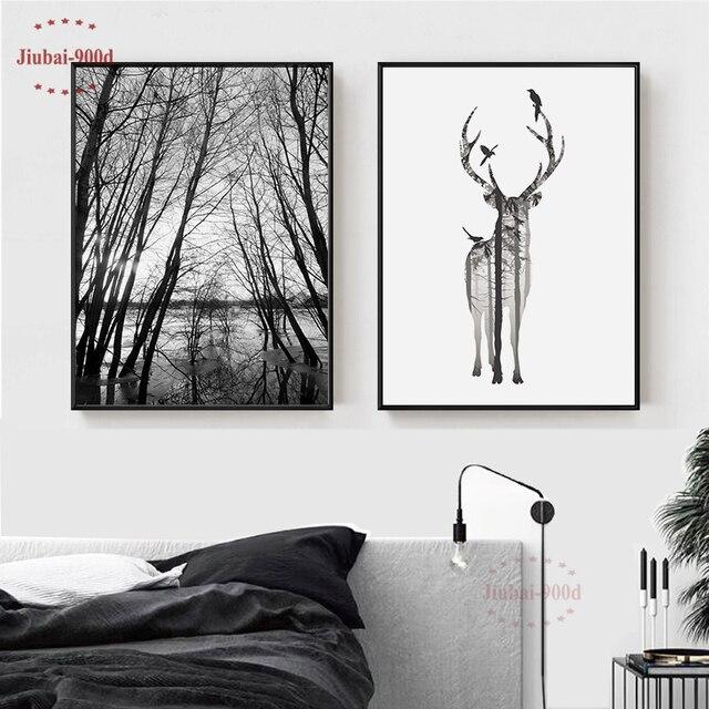 Nordic Stijl Bos Canvas Schilderen Poster, Herten Muur Foto 'S Voor Woonkamer, Posters En Prints Muur Decor BW001