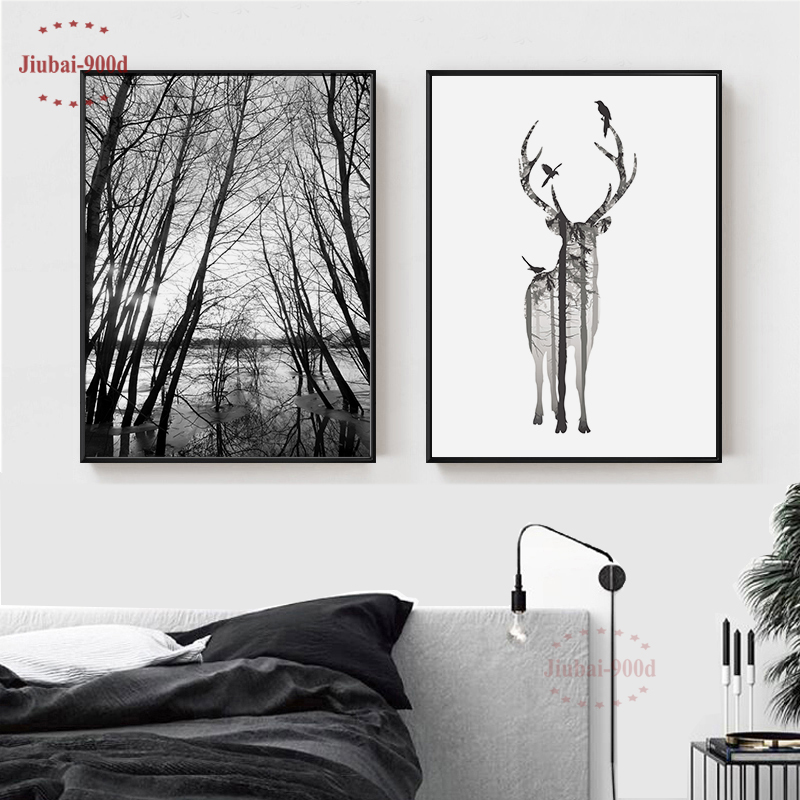 Nordic Style Forest Canvas Painting  Poster,Deer Wall Pictures For Living Room, Posters And Prints Wall Decor BW001