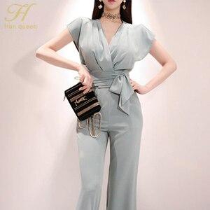 Image 3 - H han rainha novos ternos de 2 peças feminino 2019 verão elegante com decote em v rendas até colheita topo & cintura alta cor sólida calças compridas ol conjunto de trabalho