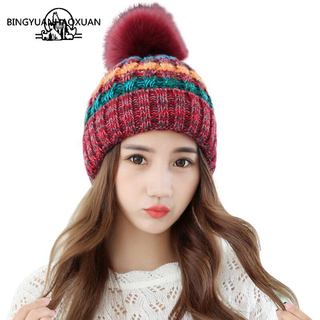 BINGYUANHAOXUANElegant Women Winter Hat Female Fall Knitted Hats For Woman  Cap Autumn And Winter Ladies Fashion Skullies Beanies 3e951c9637d