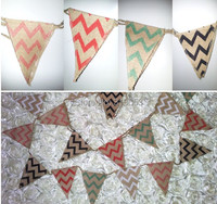 Wholesale Eco Friendly Chevron Hessian Burlap Wedding Decoration Birthday Party Bunting Baby Shower Party Props15pcs Flag