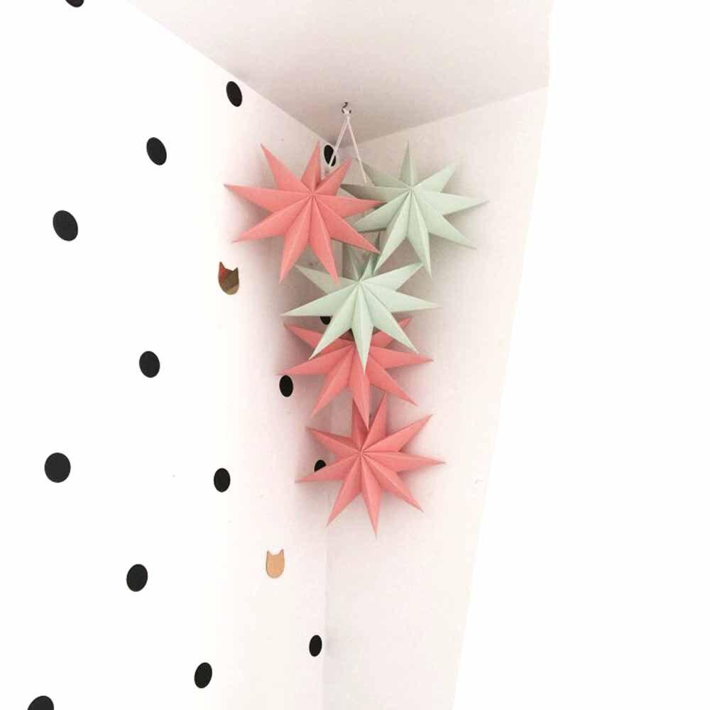 Pack of 5 Folded Paper Star Lanterns Set 3D Hangin...