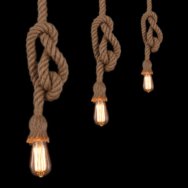 Quadruple E27 Edison Bulb 18mm Retro Countryside Hemp Rope Lamp Pendant Lights Edison Bulb for Living Room or Cafe Lights