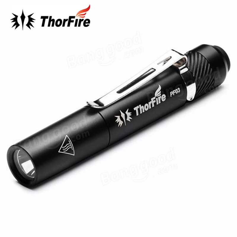 2 AAA Professional Flashlight with Pocket Clip ThorFire Led Pen Light 240 Lumen