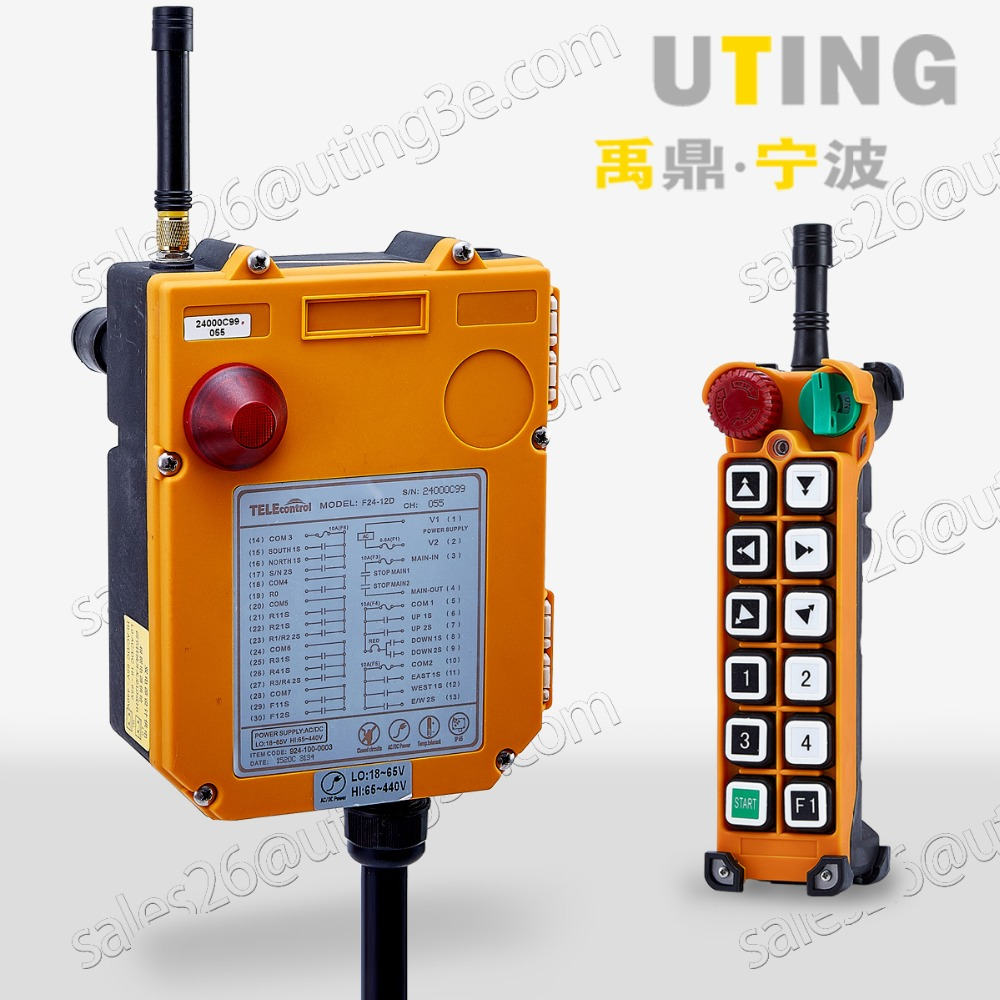 Industrial Wireless Radio Remote Control F24-12D for Hoist Crane 12V AC/DC UHF:425-446 MHZ 1 Transmitter 1 Receiver niorfnio portable 0 6w fm transmitter mp3 broadcast radio transmitter for car meeting tour guide y4409b