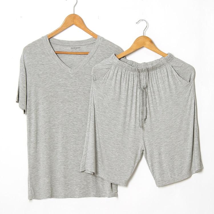 T-Shirt Sleepwear Solid-Color Clothing Pajama-Sets Shorts Men's Summer Home Casual Modal
