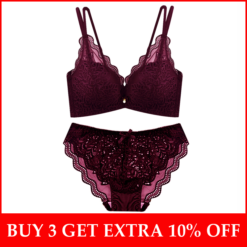 French Lace Girls   Bra     Sets   Sexy Lingerie   Set   Wire Free Brassieres and Lace   Bra   &   brief     sets   A B C cups