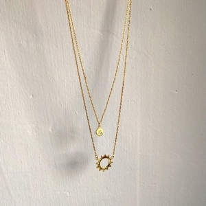 Image 4 - Sterling 925 silver smiley face sun pendant necklace gold 2018 fashion simple double layer necklace for women charms jewelry