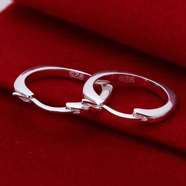 Pengiriman gratis grosir harga termurah untuk perempuan berlapis perak anting anting, 925 mode perhiasan perak, Persegi anting hoop SE123