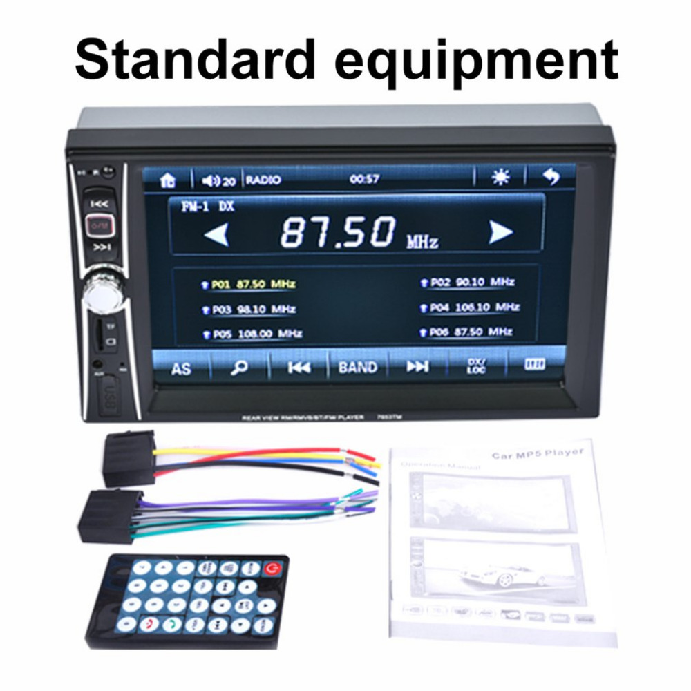 7 inch Professional Touch Screen Car Radio Mp5 Player Bluetooth Mp5 Audio 1080P Movie Support Rear View Camera 2 Din Car Audio