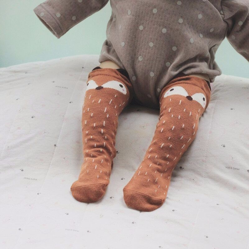 مولود جديد الفتيات الساق أدفأ فوكس القطن لطيف ليتل الأحرف الركبة الجوارب طفل الملابس للجنسين طفل التمهيد الاطفال الطفل الجوارب الوليد