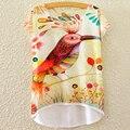 Marca impreso Vivid de Color dibujo coloreado aves camiseta 2016 cuco nuevo Harajuku informal camisetas Irregular Hem Tops alta calidad