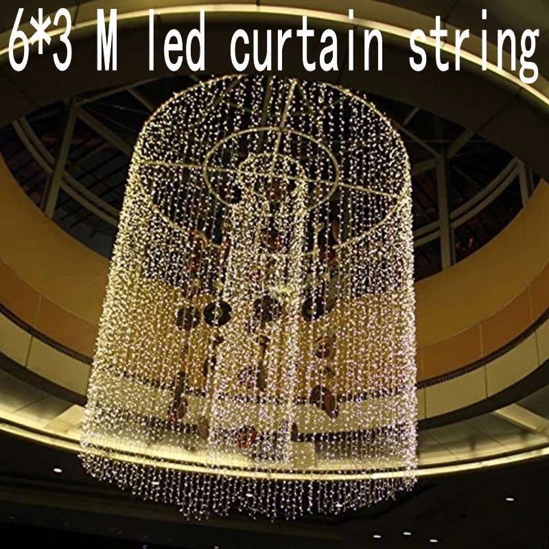 600 leds christmas Window decoration 6m Droop 3m curtain string led lights 220V New year Garden home Xmas Party Wedding holiday multicolor led string strip christmas holiday wedding curtain lights 120 smd 12 glass balls 3m long 0 6 high decoration party