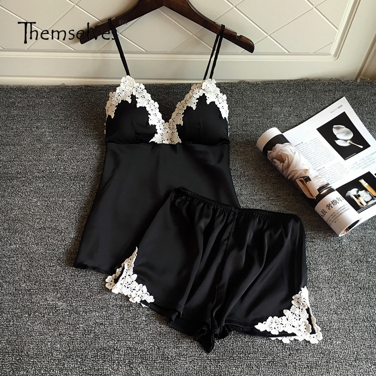 Summer Silk Pajamas for Women Straps Sleepwear Pajamas Women Satin Pajamas Sets Nightwear cami satin two piece summer pajamas