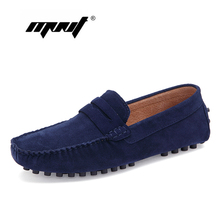 Купить с кэшбэком Fashion Style Men Shoes Soft Moccasins Loafers High Quality Suede Leather Shoes Men Flats Plus Size Driving Shoes Dropshipping