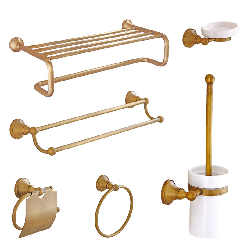 copper towel rack suits all European toilet bathroom shelf hardware sanitary ware bath hardware sets