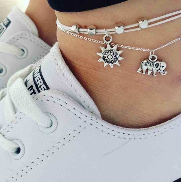 NS51 Vintage หลายชั้น Anklets สำหรับผู้หญิงช้าง Sun จี้ Charms เชือกชายหาดฤดูร้อนเท้าข้อเท้าสร้อยข้อมือเครื่องประดับ
