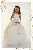 New White Ivory Lace Flower Girl Dresses Birthday Party Pageant Prom Glitz Frocks First Communion Ball