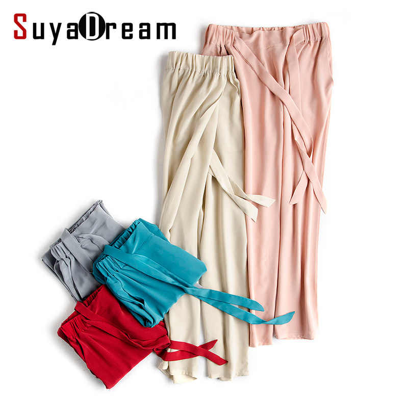 Women Silk Harem pants 100% REAL silk Solid Loose Ankle-length Elastic waist pants Silk chiffon under pants 2017 Spring