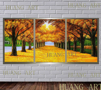 Modern trendy hot sale combination oil painting 3 a set of hand painted abstract art wall and home decoration hall sofa