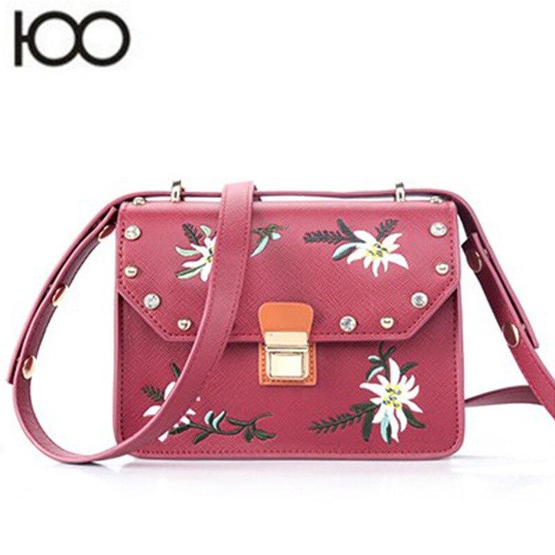 Hansomfy | Вышивка сумка Винтаж из искусственной кожи crossshoulder Повседневное знакомства Для женщин сумка - 2