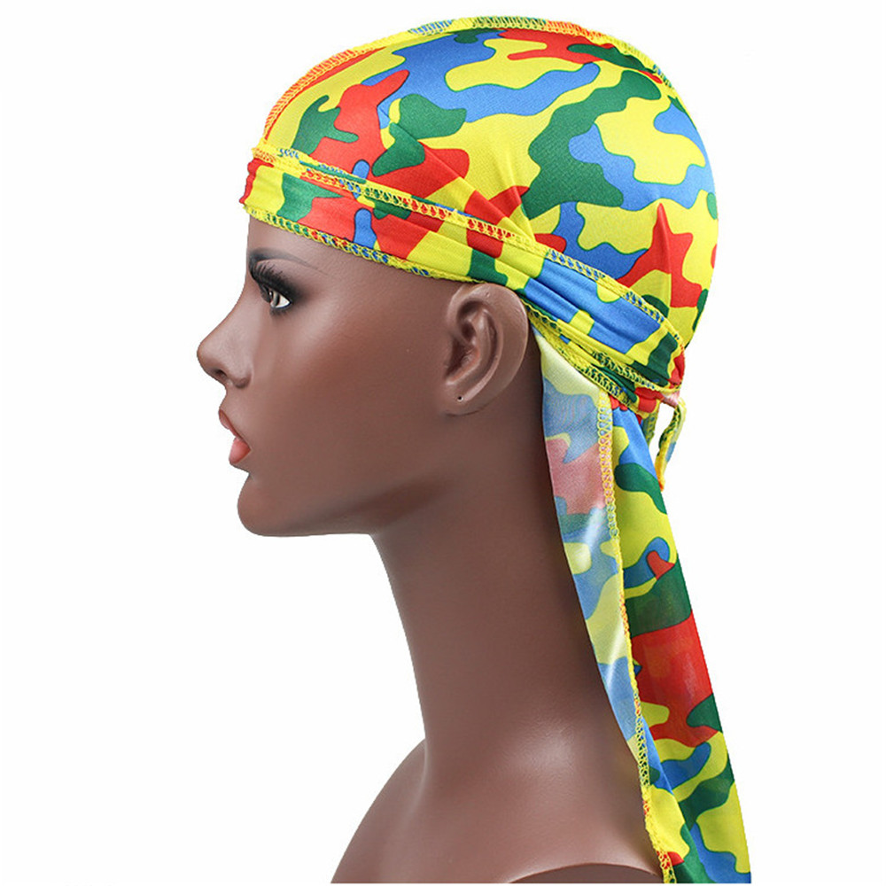 HOOH Women <font><b>Men's</b></font> Satin Camo <font><b>Durags</b></font> Turban Bandanas <font><b>Men</b></font> Silky <font><b>Durags</b></font> Waves Cap Headband Head Cover Hair Accessories Du Rag image