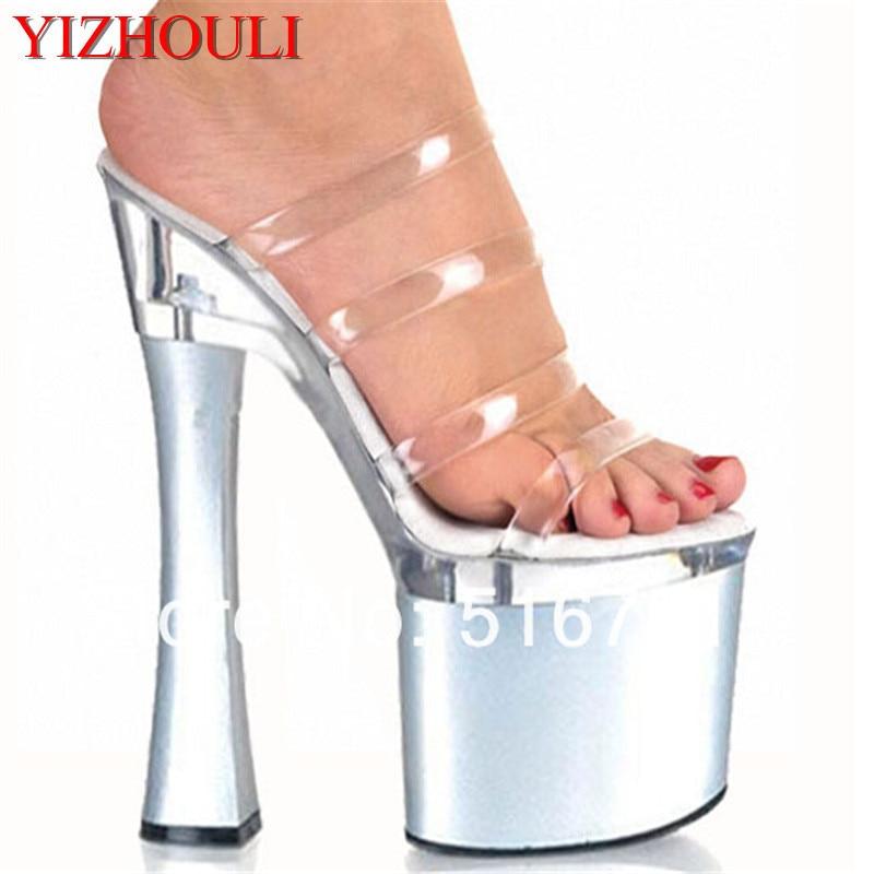 Nieve Zapatos Bailarina Impermeables 18 Exótica Clubbing Plata Sexy Claras Moda Fetiche Cm Tiras Zapatilla qaTfp