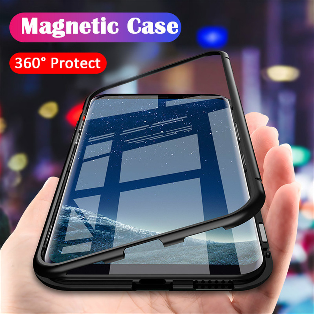 watch b53d4 b1b63 Magnetic Adsorption Samsung Galaxy Note 8 9 S9 S8 Plus S7 Edge Cases  Tempered Glass Flip Cover For Samsung S8 S9 Plus