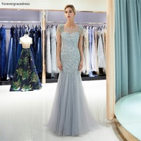 Forevergracedress Cap Sleeves Mermaid Evening Dresses 2019 Beading Crystals Sheer Neck Formal Party Gowns Plus Size Custom Made